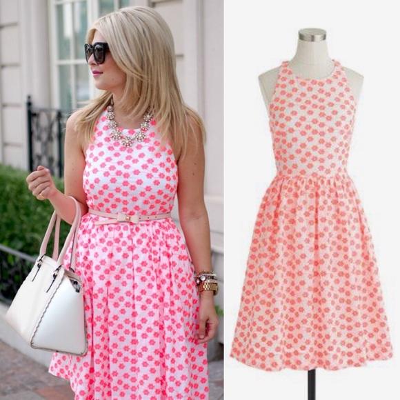 J. Crew Dresses & Skirts - J. Crew Neon Pink Embroidered Floral Racer Dress